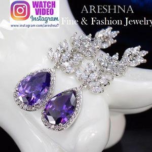 Amethyst Swarovski Crystals Dangle Earrings